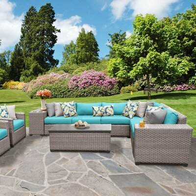 Florence Outdoor Wicker 11 Piece Sectional Seating Group with Cushion Fabric: White