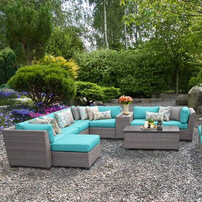 Florence Outdoor Wicker 12 Piece Sectional Seating Group with Cushion Fabric: White