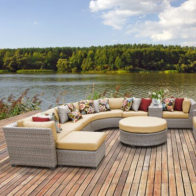 Florence Outdoor Wicker 12 Piece Sectional Seating Group with Cushion Fabric: Sesame