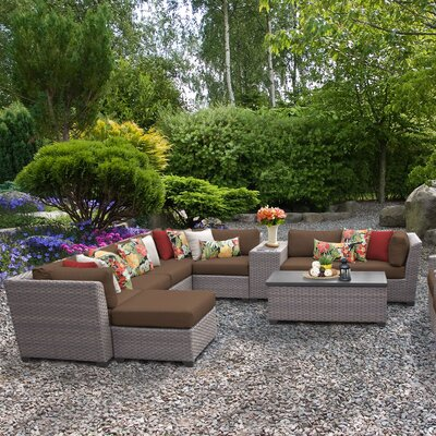 Florence Outdoor Wicker 12 Piece Sectional Seating Group with Cushion Fabric: Cocoa