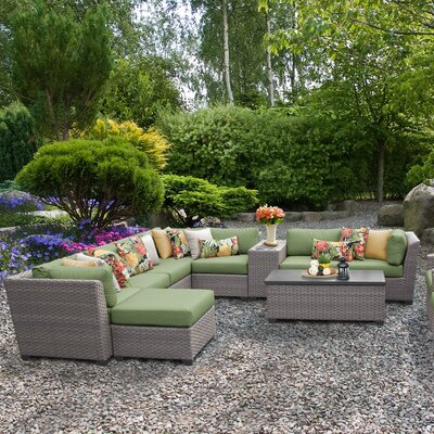 Florence Outdoor Wicker 12 Piece Sectional Seating Group with Cushion Fabric: Cilantro