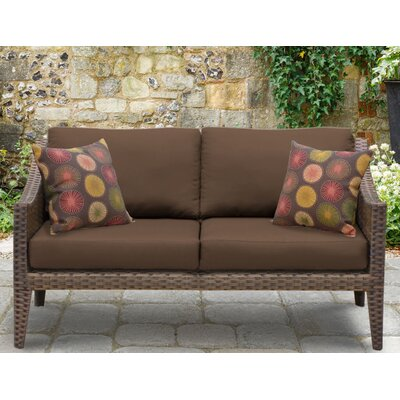 Manhattan Outdoor Wicker Loveseat with Cushions Fabric: Cocoa