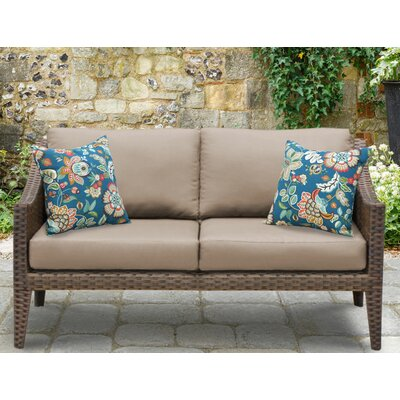Manhattan Outdoor Wicker Loveseat with Cushions Fabric: Wheat