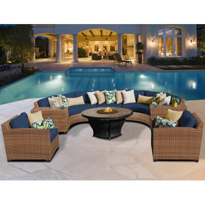 Laguna 8 Piece Fire Pit Seating Group with Cushion Fabric: Navy