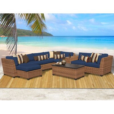 Laguna 10 Piece Rattan Sectional Seating Group with Cushion Fabric: Navy