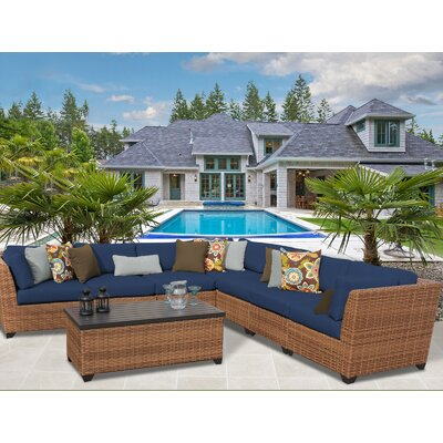 Laguna Outdoor Wicker Patio 8 Piece Sectional Seating Group with Cushion