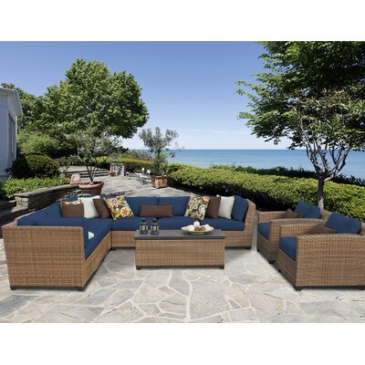 Laguna 10 Piece Sectional Seating Group with Cushion Fabric: Navy