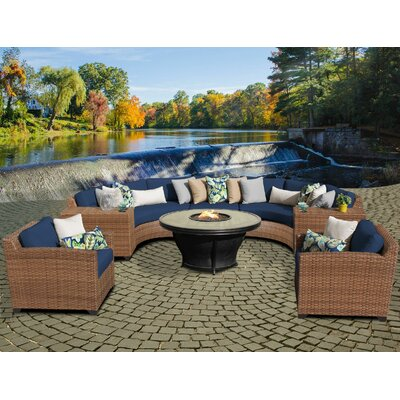 Laguna Outdoor Wicker Patio 8 Piece Fire Pit Seating Group with Cushion