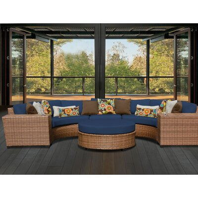 Laguna Outdoor Wicker Patio 6 Piece Sectional Seating Group with Cushion