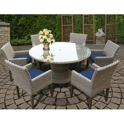 Oasis 7 Piece Dining Set with Cushions Cushion Color: White