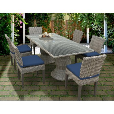 Oasis 7 Piece Dining Set with Cushions Cushion Color: Navy