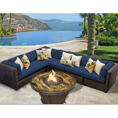 Venice Outdoor Wicker Patio 7 Piece Fire Pit Seating Group with Cushion