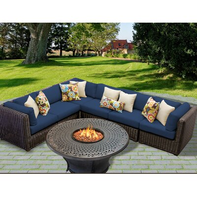 Venice Outdoor Wicker Patio 7 Piece Fire Pit Seating Group with Cushion Fabric: Navy