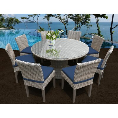 Oasis 9 Piece Dining Set with Cushions Cushion Color: White