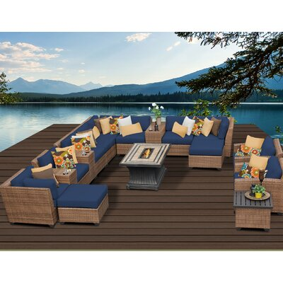 Laguna Outdoor Wicker Patio 17 Piece Fire Pit Seating Group with Cushion