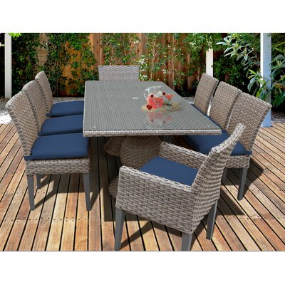 Oasis 9 Piece Dining Set with Cushions Cushion Color: Navy