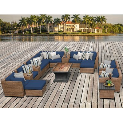 Laguna Outdoor Wicker Patio 17 Piece Fire Pit Seating Group with Cushion Fabric: Navy