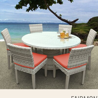 Fairmont 7 Piece Dining Set with Cushions Cushion Color: Tangerine