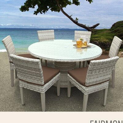 Fairmont 7 Piece Dining Set with Cushions Cushion Color: Cocoa
