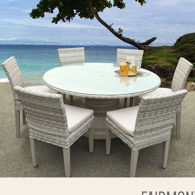 Fairmont 7 Piece Dining Set with Cushions Cushion Color: Beige