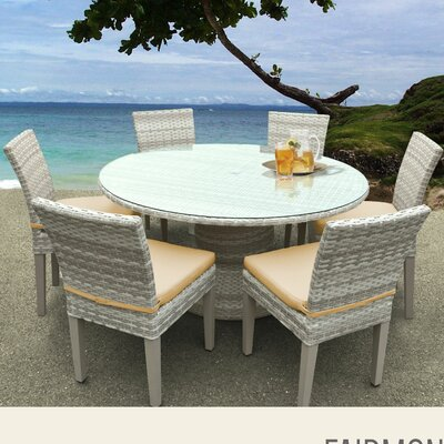 Fairmont 7 Piece Dining Set with Cushions Cushion Color: Sesame