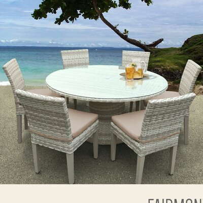Fairmont 7 Piece Dining Set with Cushions Cushion Color: Wheat