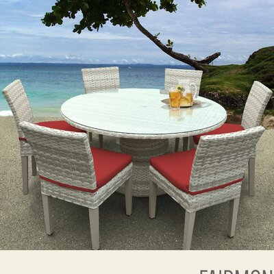 Fairmont 7 Piece Dining Set with Cushions Cushion Color: Terracotta