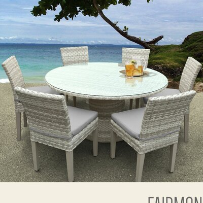 Fairmont 7 Piece Dining Set with Cushions Cushion Color: Grey