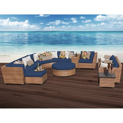 Laguna 12 Piece Sectional Seating Group with Cushion Fabric: Navy