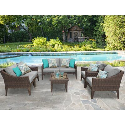 Manhattan 7 Piece Deep Seating Group with Cushion Fabric: Grey
