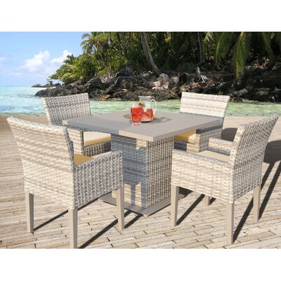 Fairmont 5 Piece Dining Set with Cushion Cushion Color: Sesame