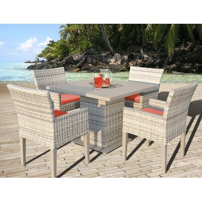 Fairmont 5 Piece Dining Set with Cushion Cushion Color: Tangerine