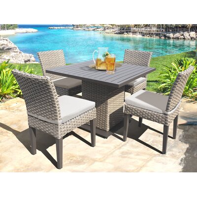 Oasis 5 Piece Dining Set with Cushions Cushion Color: Beige
