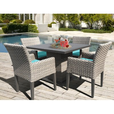 Oasis 5 Piece Dining Set with Cushions Cushion Color: Aruba