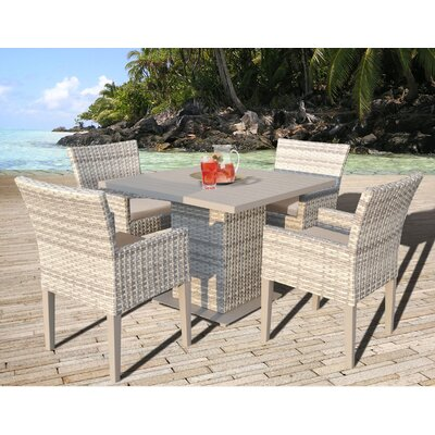 Fairmont 5 Piece Dining Set with Cushion Cushion Color: Wheat