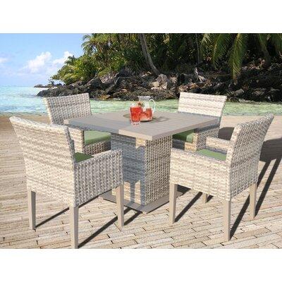 Fairmont 5 Piece Dining Set with Cushion Cushion Color: Cilantro