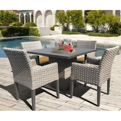Oasis 5 Piece Dining Set with Cushions Cushion Color: Sesame