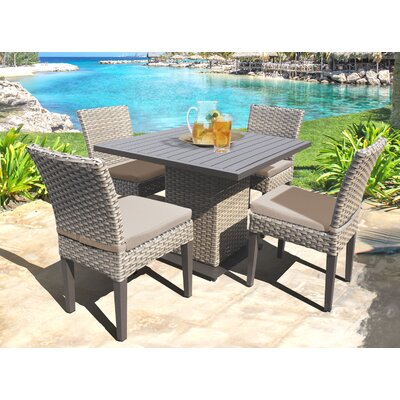 Oasis 5 Piece Dining Set with Cushions Cushion Color: Wheat