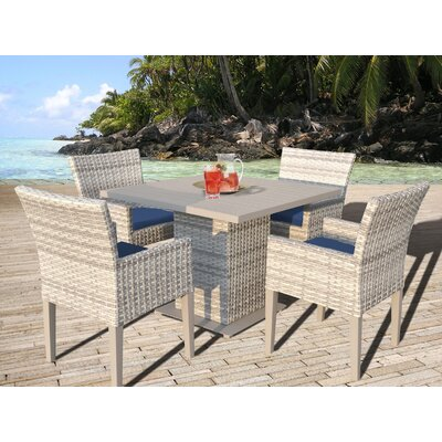 Fairmont 5 Piece Dining Set with Cushion Cushion Color: Navy
