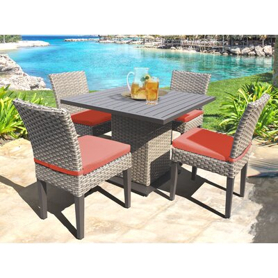 Oasis 5 Piece Dining Set with Cushions Cushion Color: Tangerine