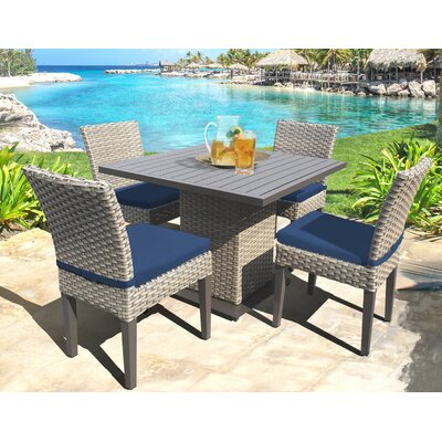 Oasis 5 Piece Dining Set with Cushions Cushion Color: Navy