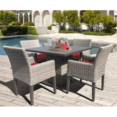 Oasis 5 Piece Dining Set with Cushions Cushion Color: Terracotta