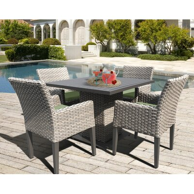 Oasis 5 Piece Dining Set with Cushions Cushion Color: Cilantro