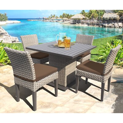 Oasis 5 Piece Dining Set with Cushions Cushion Color: Cocoa