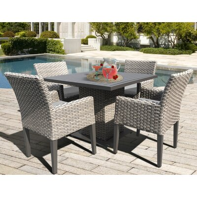 Oasis 5 Piece Dining Set with Cushions Cushion Color: Gray