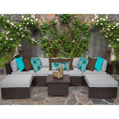 Barbados 7 Piece Sectional Seating Group with Cushion Fabric: Grey