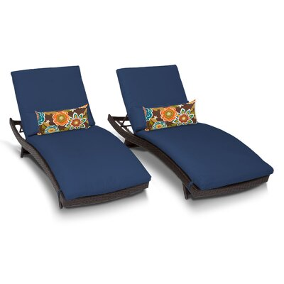 Bali Chaise Lounge with Cushion Fabric: Navy