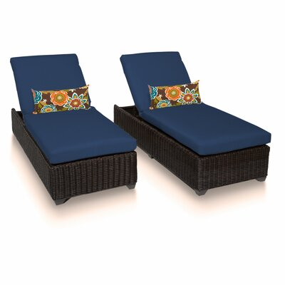 Venice Chaise Lounge with Cushion Fabric: Navy