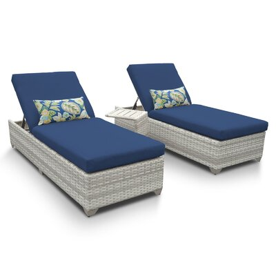 Fairmont 3 Piece Chaise Lounge Set with Cushion Fabric: Navy