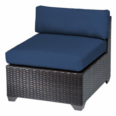 Belle Slipper Chair and Ottoman Fabric: Navy